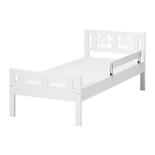 Ikea Godmorgon Kasten Mit Fächern ~ KRITTER Bed frame with slatted bed base IKEA The guard rail prevents