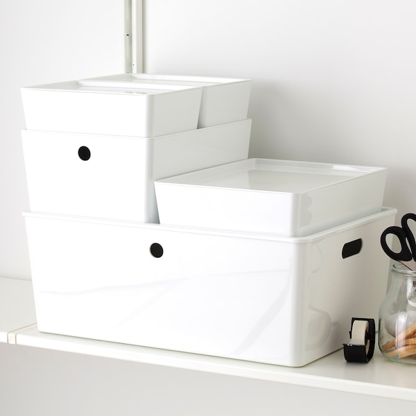 KUGGIS box with lid white 26 cm 35 cm 8 cm