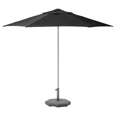 KUGGÖ / LINDÖJA Parasol with base, black/Huvön dark grey, 300 cm