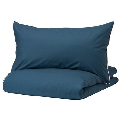 KUNGSBLOMMA Duvet cover and pillowcase, dark blue/white, 150x200/50x80 cm