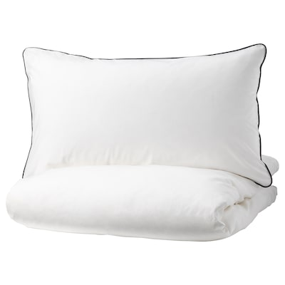 KUNGSBLOMMA Quilt cover and 2 pillowcases, white/grey, 200x200/50x80 cm
