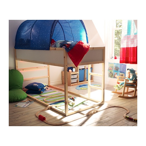 Wts ikea kura reversible loft bed dark blue pine can for Reverse loft bed