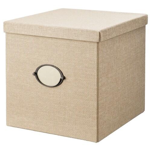 KVARNVIK storage box with lid beige 35 cm 32 cm 32 cm