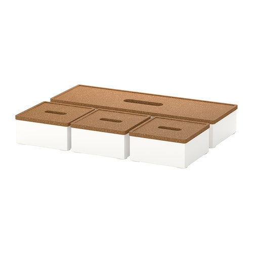 KVISSLE Box with lid, set of 4 IKEA Holds your pens, note pads, business cards, etc.  You can also use the small lids as coasters for your water glass.