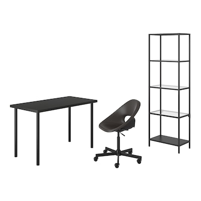 LAGKAPTEN/ELDBERGET / VITTSJÖ Desk and storage combination, and swivel chair black-brown/dark grey