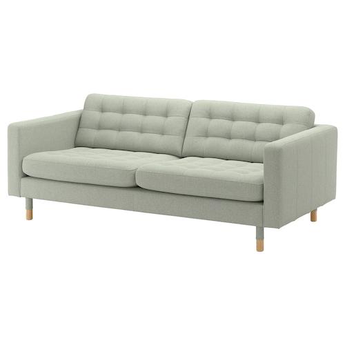LANDSKRONA 3-seat sofa Gunnared light green/wood 204 cm 89 cm 78 cm 64 cm 180 cm 61 cm 44 cm