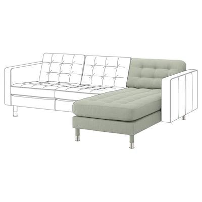 LANDSKRONA Chaise longue, add-on unit, Gunnared light green/metal