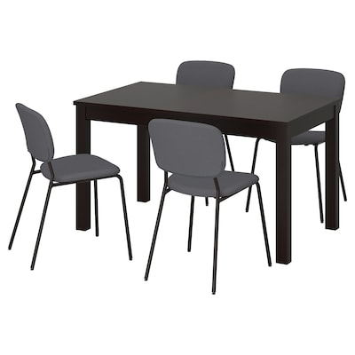 LANEBERG / KARLJAN Table and 4 chairs, brown/dark grey dark grey, 130/190x80 cm
