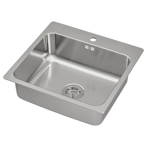 LÅNGUDDEN inset sink, 1 bowl stainless steel 18 cm 50 cm 40 cm 51 cm 54 cm 52.5 cm 56 cm 52.5 cm 28.0 l