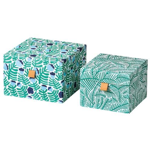 LANKMOJ decoration box, set of 2 green/blue/floral patterned