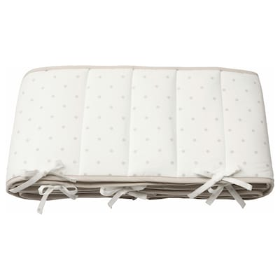 LENAST Bumper pad, dotted/white grey, 60x120 cm