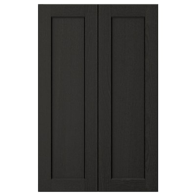 LERHYTTAN 2-p door f corner base cabinet set, black stained, 25x80 cm