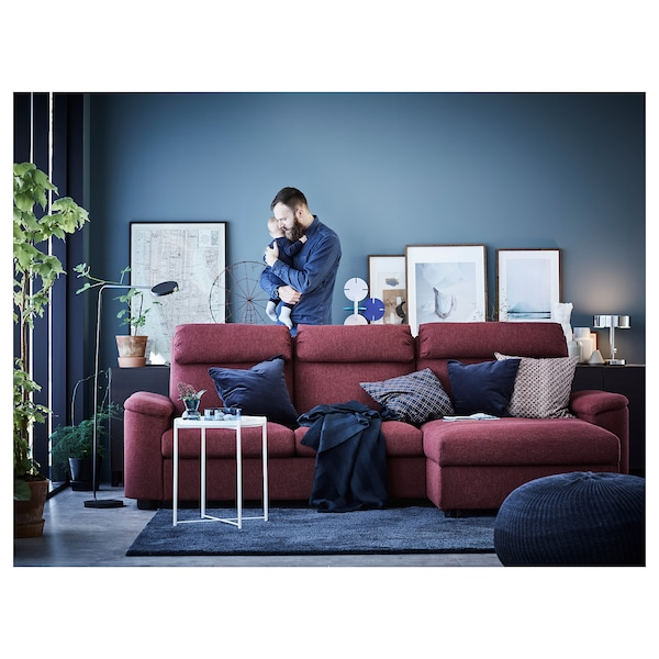 LIDHULT 3-seat sofa-bed with chaise longue/Lejde red-brown 102 cm 76 cm 164 cm 298 cm 98 cm 120 cm 7 cm 231 cm 53 cm 45 cm 140 cm 200 cm