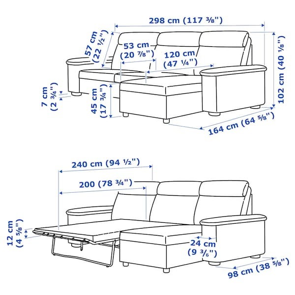 LIDHULT 3-seat sofa-bed with chaise longue/Lejde grey/black 102 cm 76 cm 164 cm 298 cm 98 cm 120 cm 7 cm 231 cm 53 cm 45 cm 140 cm 200 cm