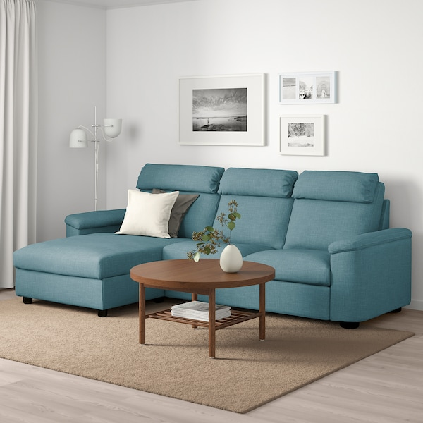 LIDHULT 3-seat sofa-bed with chaise longue/Gassebol blue/grey 102 cm 76 cm 164 cm 298 cm 98 cm 120 cm 7 cm 231 cm 53 cm 45 cm 140 cm 200 cm