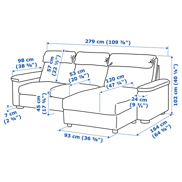 LIDHULT 3-seat sofa with chaise longue/Gassebol light beige 102 cm 76 cm 164 cm 279 cm 120 cm 7 cm 231 cm 53 cm 45 cm