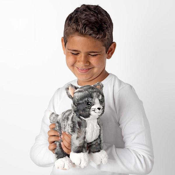 LILLEPLUTT Soft toy, cat grey/white