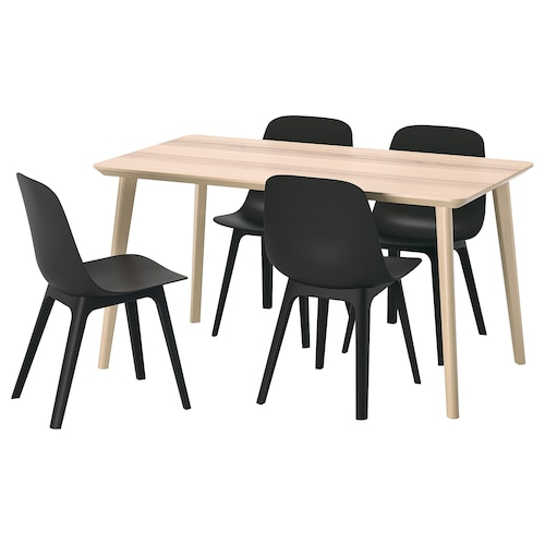 LISABO / ODGER table and 4 chairs ash veneer/anthracite 140 cm 78 cm 74 cm
