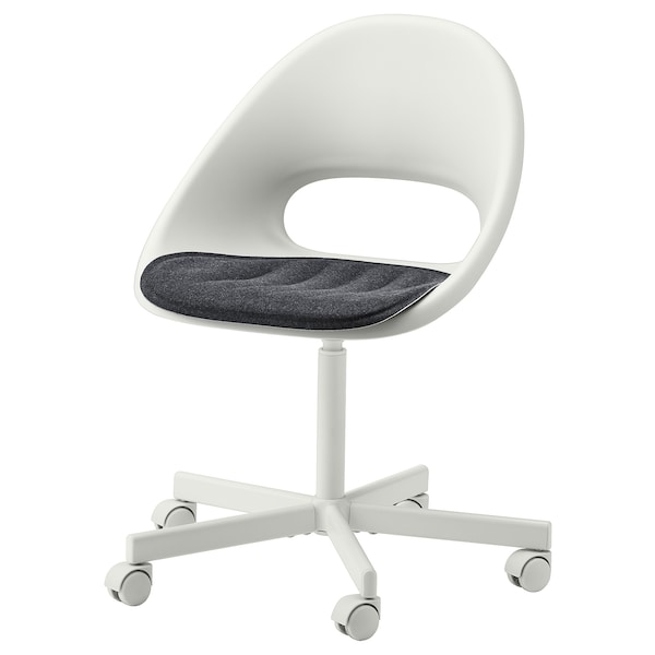 LOBERGET / BLYSKÄR Swivel chair with pad, white/dark grey