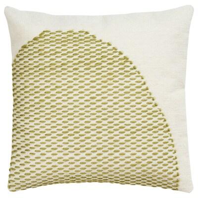 LOKALT Cushion cover, natural green/handmade, 50x50 cm