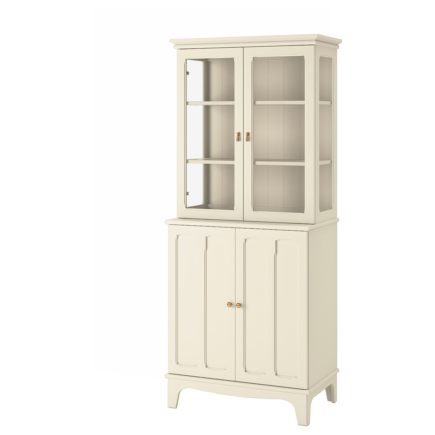 Lommarp Cabinet With Glass Doors Light Beige 86x199 Cm Ikea