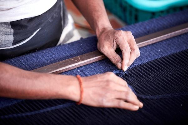 LOVRUP Rug, flatwoven, handmade blue, 133x195 cm