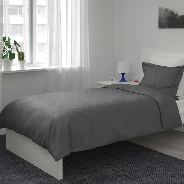 LUKTJASMIN Duvet cover and pillowcase, dark grey, 150x200/50x80 cm