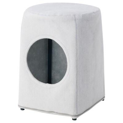 LURVIG Cat house with stool, light grey/black