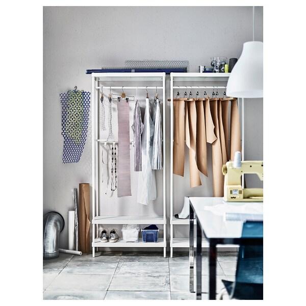 MACKAPÄR Coat rack with shoe storage unit, white, 78x32x193 cm