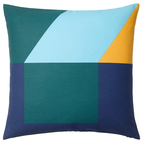 MAJALISA Cushion cover - blue, green/yellow - IKEA
