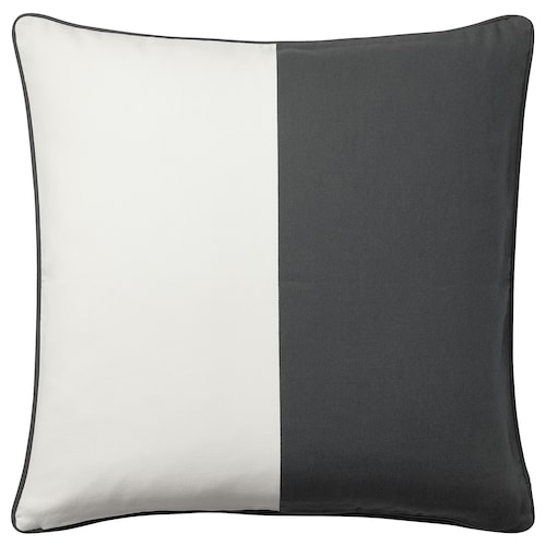 MALINMARIA cushion cover dark grey/white 50 cm 50 cm
