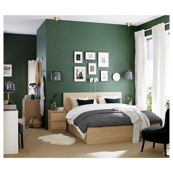 MALM bed frame, high, w 2 storage boxes white stained oak veneer 209 cm 166 cm 97 cm 59 cm 38 cm 100 cm 200 cm 150 cm 15 cm 100 cm