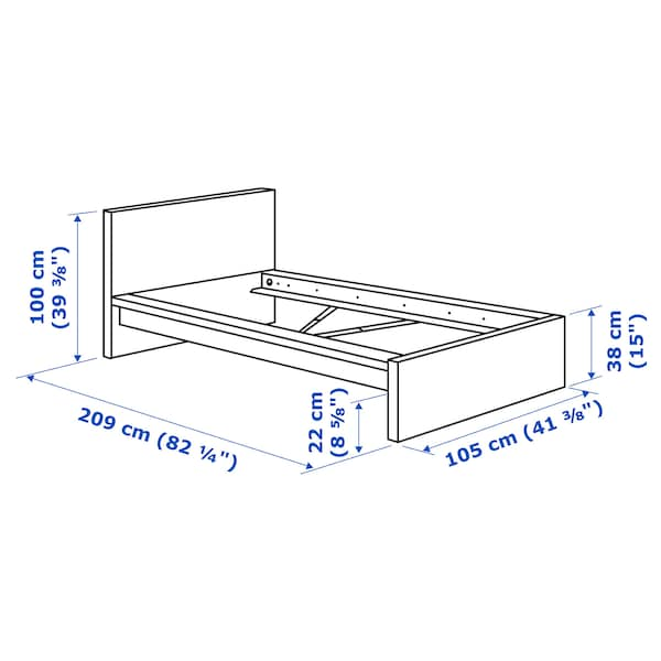 MALM bed frame, high white stained oak veneer 209 cm 105 cm 38 cm 100 cm 200 cm 90 cm 100 cm 21 cm
