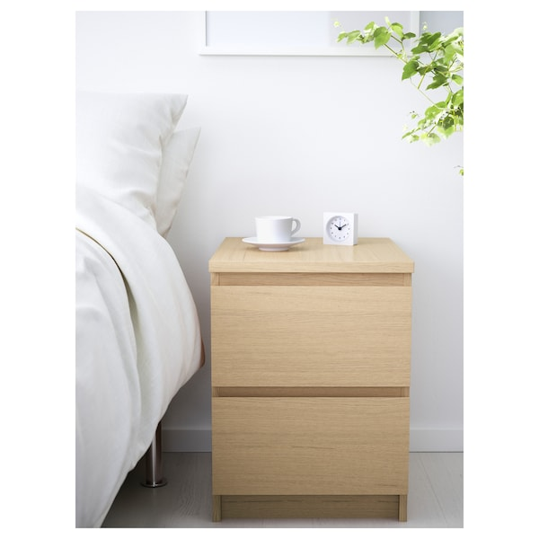 MALM Chest of 2 drawers, white stained oak veneer, 40x55 cm