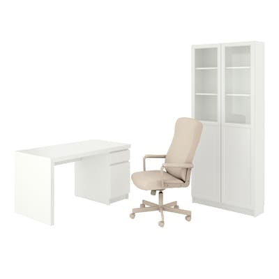 MALM/MILLBERGET / BILLY/OXBERG Desk and storage combination, and swivel chair white/beige