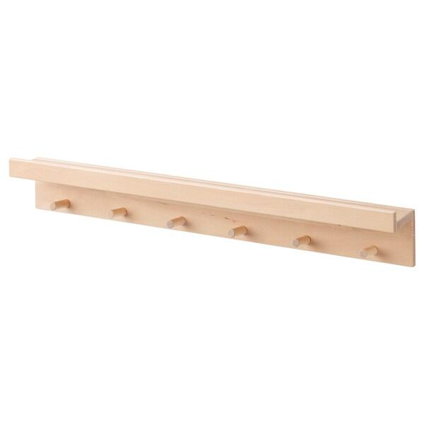 MÅNSARP Display shelf with hooks, birch, 80 cm