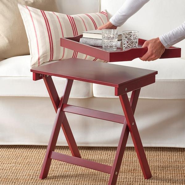 MARYD Tray table, dark red, 58x38x58 cm