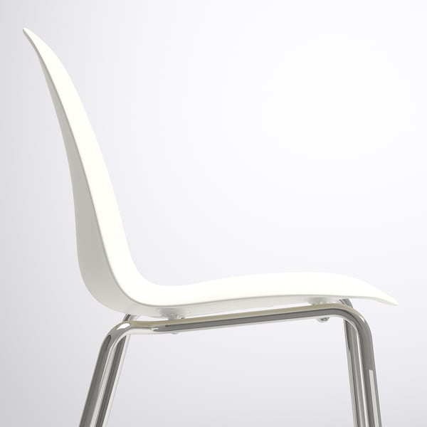 MELLTORP / LEIFARNE table and 4 chairs white marble effect/chrome-plated 125 cm 75 cm