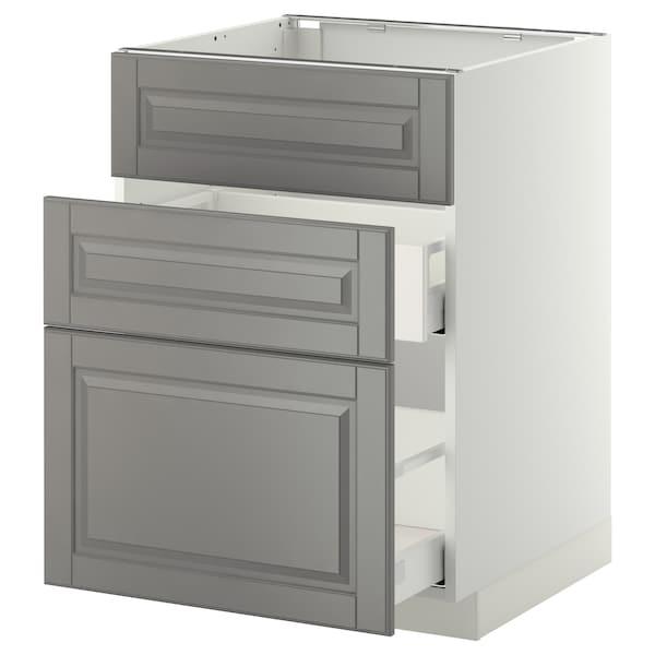 METOD Base cab f sink+3 fronts/2 drawers, white Maximera/Bodbyn grey, 60x60x80 cm