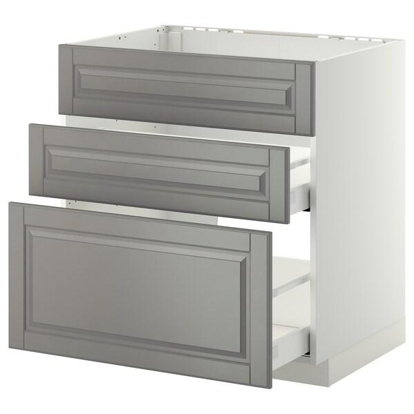METOD Base cab f sink+3 fronts/2 drawers, white Maximera/Bodbyn grey, 80x60x80 cm