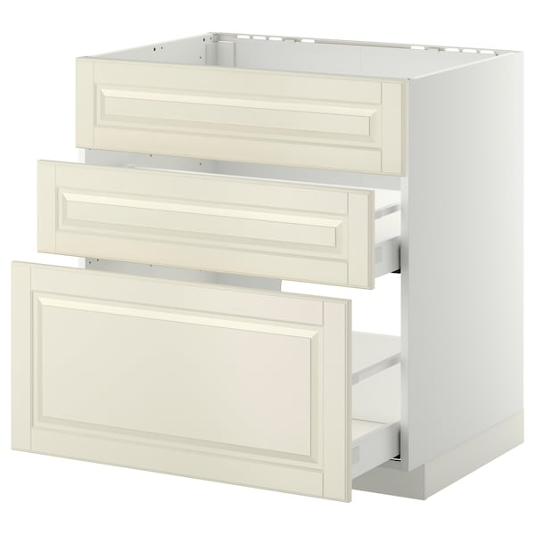 METOD Base cab f sink+3 fronts/2 drawers, white Maximera/Bodbyn off-white, 80x60x80 cm