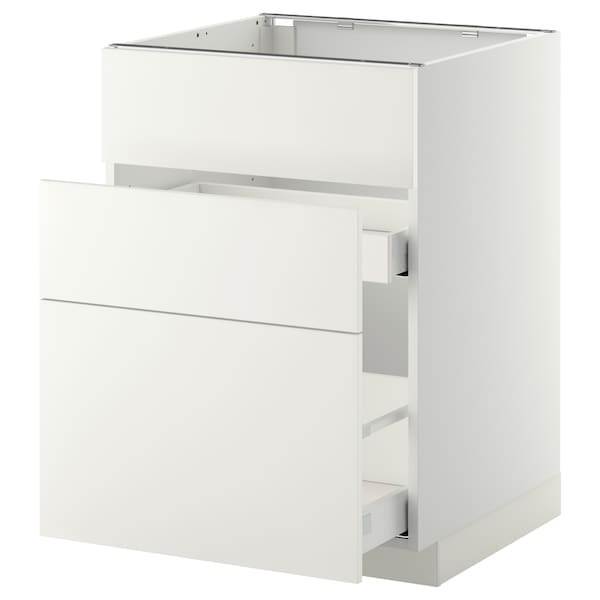 METOD Base cab f sink+3 fronts/2 drawers, white Maximera/Häggeby white, 60x60x80 cm