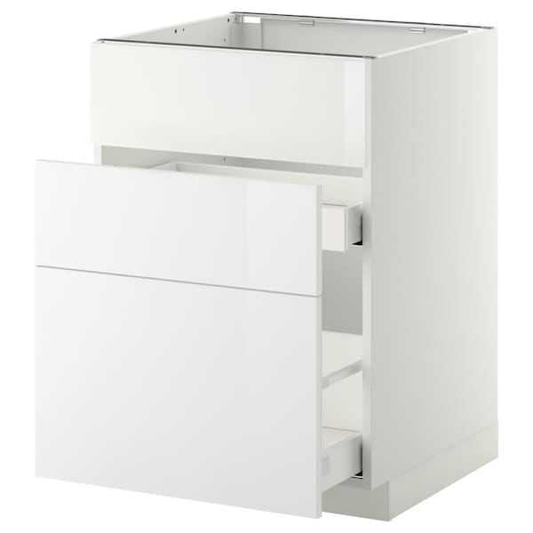 METOD Base cab f sink+3 fronts/2 drawers, white Maximera/Ringhult white, 60x60x80 cm