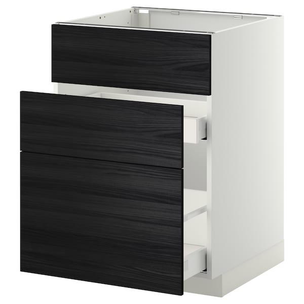 METOD Base cab f sink+3 fronts/2 drawers, white Maximera/Tingsryd black, 60x60x80 cm