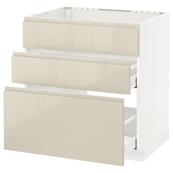 METOD Base cab f sink+3 fronts/2 drawers, white Maximera/Voxtorp high-gloss light beige, 80x60x80 cm