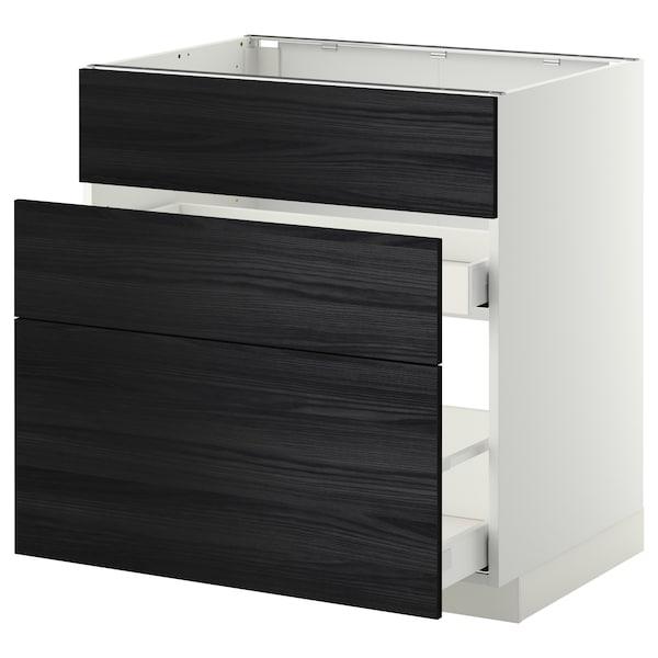METOD base cab f sink+3 fronts/2 drawers white Maximera/Tingsryd black 80.0 cm 61.6 cm 60.0 cm 80.0 cm