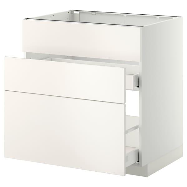 METOD base cab f sink+3 fronts/2 drawers white Maximera/Veddinge white 80.0 cm 61.6 cm 60.0 cm 80.0 cm