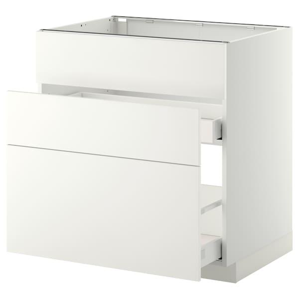 METOD base cab f sink+3 fronts/2 drawers white Maximera/Häggeby white 80.0 cm 61.6 cm 60.0 cm 80.0 cm