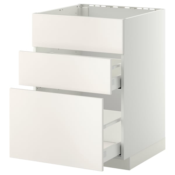 METOD base cab f sink+3 fronts/2 drawers white Maximera/Veddinge white 60.0 cm 61.6 cm 60.0 cm 80.0 cm