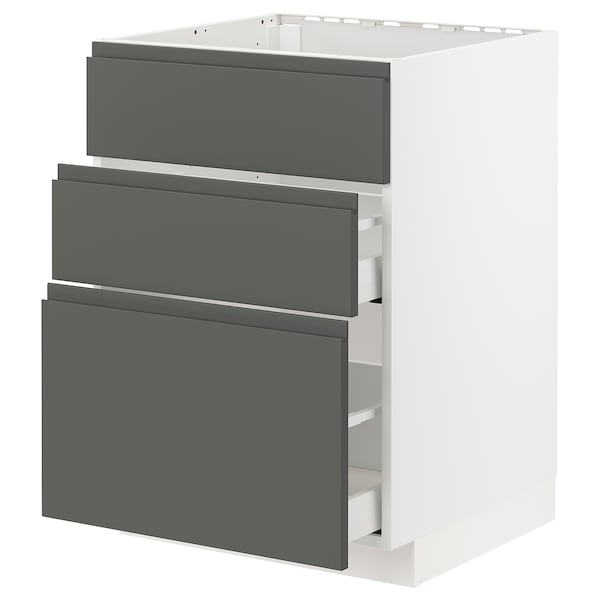 METOD base cab f sink+3 fronts/2 drawers white Maximera/Voxtorp dark grey 60.0 cm 61.6 cm 60.0 cm 80.0 cm